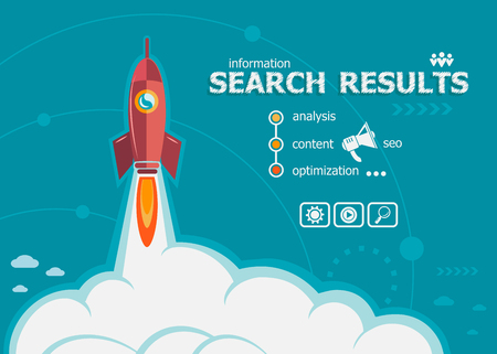 search results: Search results and concept background with rocket. Project Search results concepts for web banner and printed materials. Illustration