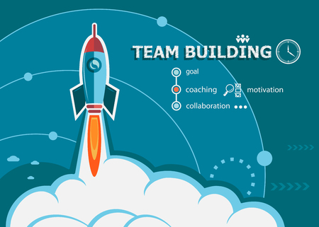 project team: Team Building design and concept background with rocket. Project Team Building concepts for web banner and printed materials.