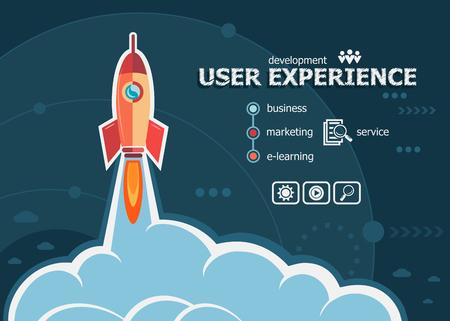 Gebruikerservaring en concept achtergrond met raket. Project User experience concepten voor web banner en drukwerk.