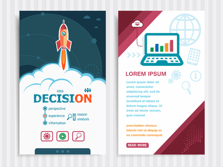 depend: Decision and concept background with rocket. Project Decision concepts and Set of Banners. Vector Illustration.