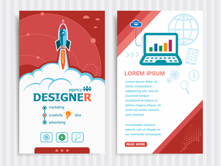 webdesigner: Designer and concept background with rocket. Project Designer concepts and Set of Banners. Vector Illustration.