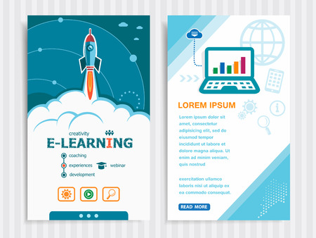 ロケットとオンラインの e ラーニングとコンセプト背景。プロジェクト オンライン e ラーニングの概念やバナーの設定。ベクトルの図。  イラスト・ベクター素材