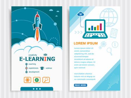 En línea e-learning y el concepto de fondo con el cohete. Proyecto Online conceptos de aprendizaje electrónico y Conjunto de banners. Ilustración del vector. Foto de archivo - 62210510
