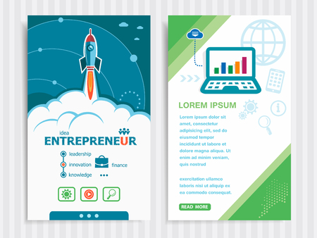 owner money: Entrepreneur and concept background with rocket. Project Entrepreneur concepts and Set of Banners. Vector Illustration.