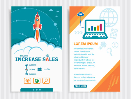 increase sales: Increase sales and concept background with rocket. Project Increase sales concepts and Set of Banners. Vector Illustration. Illustration