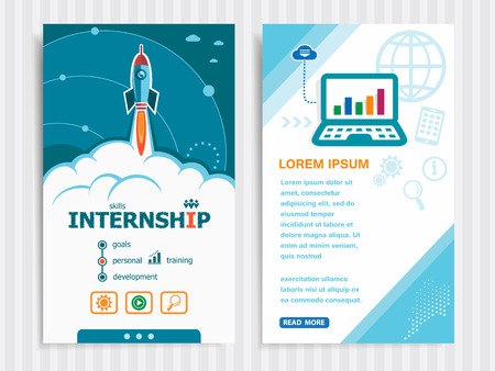 apprenticeship: Internship and concept background with rocket. Project Internship concepts and Set of Banners. Vector Illustration.