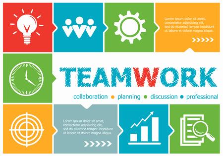 competencias laborales: Trabajo en equipo ilustración del diseño conceptos para los negocios, consultoría, gestión, de la carrera. conceptos de trabajo en equipo para la bandera web y materiales impresos.