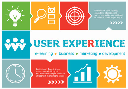 user friendly: User experience design illustration concepts for business, consulting, management, career. User experience concepts for web banner and printed materials. Illustration