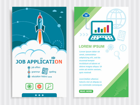 strengthen: Job application and concept background with rocket. Project Job application concepts and Set of Banners. Vector Illustration. Eps10 Format.