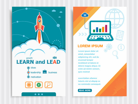 career coach: Learn and Lead and concept background with rocket. Project Learn and Lead concepts and Set of Banners. Vector Illustration. Eps10 Format.
