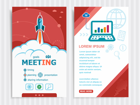 career timing: Business meeting and concept background with rocket. Project Business meeting concepts and Set of Banners. Vector Illustration. Eps10 Format.