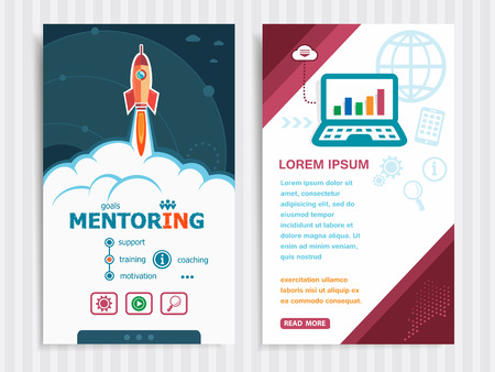 career timing: Mentoring and concept background with rocket. Project Mentoring concepts and Set of Banners. Vector Illustration. Eps10 Format.
