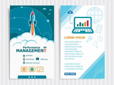 communicated: Performance management and concept background with rocket. Project Performance management concepts and Set of Banners. Vector Illustration. Eps10 Format.