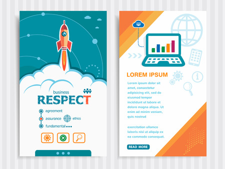 respectable: Respect and concept background with rocket. Project Respect template and Set of Banners. Vector Illustration. Eps10 Format. Illustration