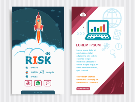 dangerous work: Risk and concept background with rocket. Project Risk concepts and Set of Banners. Vector Illustration. Eps10 Format.