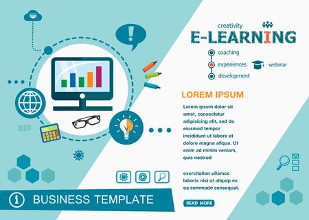 Conceptos de diseño de e-learning en línea de aprendizaje y capacitación de palabras. Banners de diseño plano en línea de e-learning para sitios web y sitios web móviles, fáciles de usar y altamente personalizables. Foto de archivo - 63731836