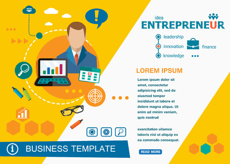 Entrepreneur design concepts of words learning and training. Entrepreneur flat design banners for website and mobile website, easy to use and highly customizable. Illustration