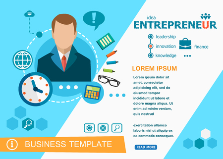 customizable: Entrepreneur design concepts of words learning and training. Entrepreneur flat design banners for website, easy to use and highly customizable.