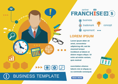 customizable: Franchise concepts of words learning and training. Franchise  flat design banners for website and mobile website, easy to use and highly customizable.