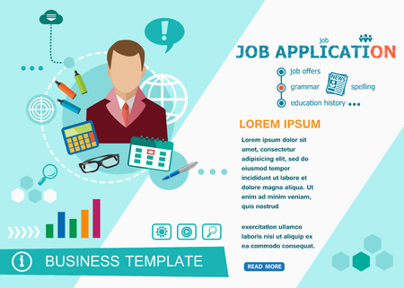 customizable: Job application design concepts of words learning and training. Job application flat design banners for website and mobile website, easy to use and highly customizable.