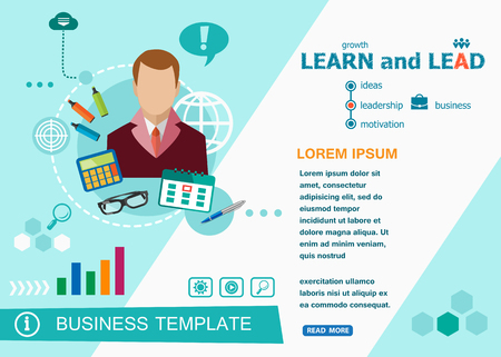 customizable: Learn and Lead design concepts of words learning and training. Learn and Lead flat design banners for website and mobile website, easy to use and highly customizable. Illustration