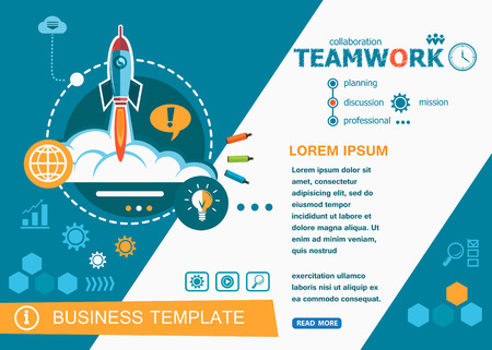 customizable: Teamwork design concepts of words learning and training. Teamwork flat design banners for website and mobile website, easy to use and highly customizable.