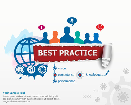 Best practice concept and group of people. Set of flat design illustration concepts for business, consulting, finance, management, career, human resources.
