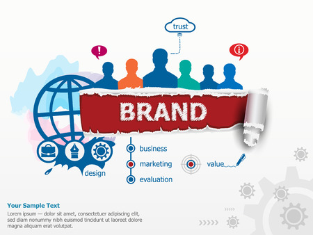 branded product: Branding concept for efficiency and group of people. Set of flat design illustration concepts for business, consulting, finance, management, career, human resources.