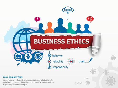 business ethics: Business Ethics concept and group of people. Set of flat design illustration concepts for business, consulting, finance, management, career, human resources.