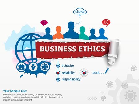 Business Ethics concept en de groep mensen. Set van platte ontwerp illustratie concepten voor het bedrijfsleven, consulting, financiën, beheer, carrière, human resources. Stock Illustratie