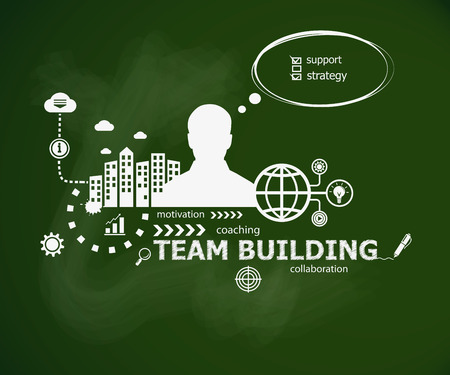 Team Building design concept and man. Hand writing Team Building with chalk on green school board. Typographic poster.