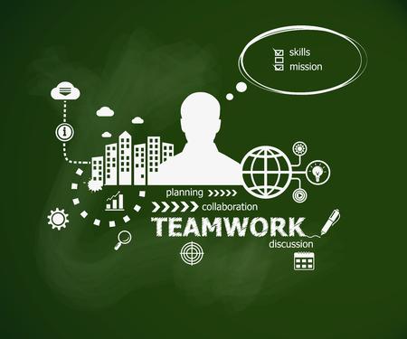 smart goals: Teamwork design illustration concept and man. Hand writing Teamwork with chalk on green school board