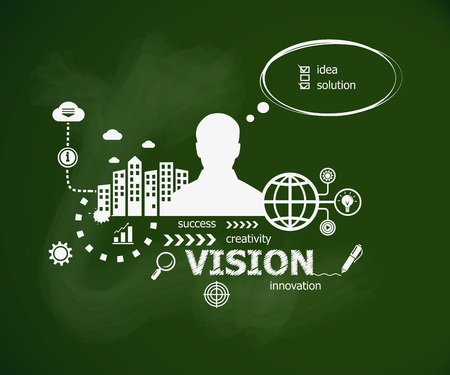 Vision design illustration concept and man. Hand writing Vision with chalk on green school board Illustration