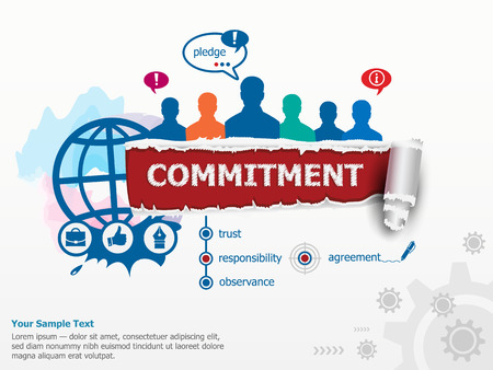 commitment: Commitment concept and group of people. Set of flat design illustration concepts for business, consulting, finance, management, career, human resources.