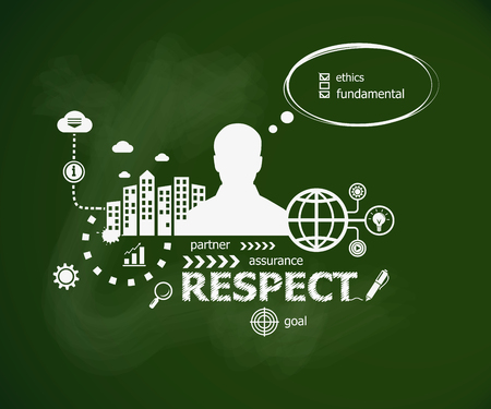 Respect design concept and man. Hand writing Respect with chalk on green school board. Typographic poster.