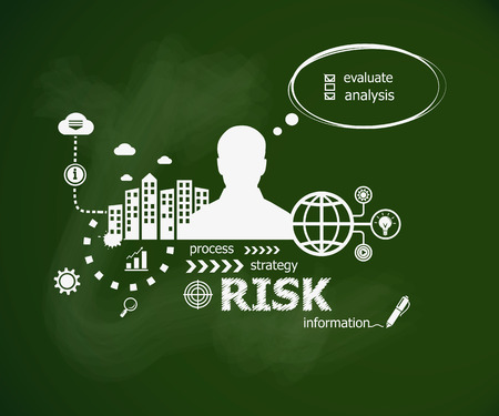 risky situation: Risk design illustration concept and man. Hand writing Risk with chalk on green school board