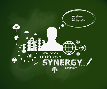 Synergy concept design concept and man. Hand writing synergy with chalk on green school board. Typographic poster. Illustration