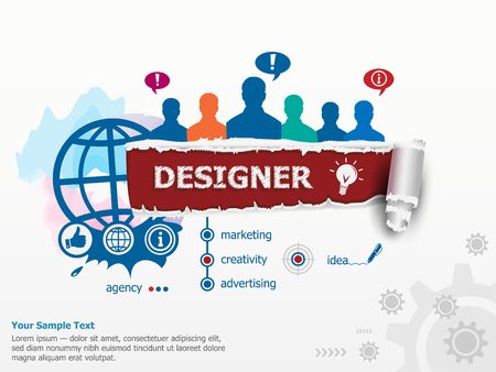 webdesigner: Designer concept and group of people. Set of flat design illustration concepts for business, consulting, finance, management, career, human resources.