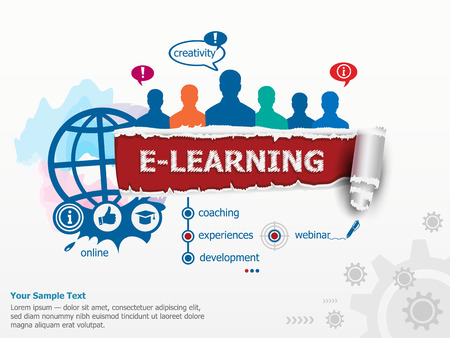 educated: Online e-learning concept and group of people. Set of flat design illustration concepts for business, consulting, finance, management, career, human resources.