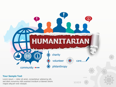 humanitarian: Humanitarian concept and group of people. Set of flat design illustration concepts for business, consulting, finance, management, career, human resources.