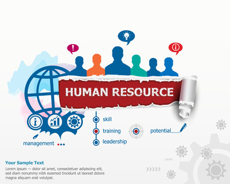 human resource: Human resource concept and group of people. Set of flat design illustration concepts for business, consulting, finance, management, career, human resources.