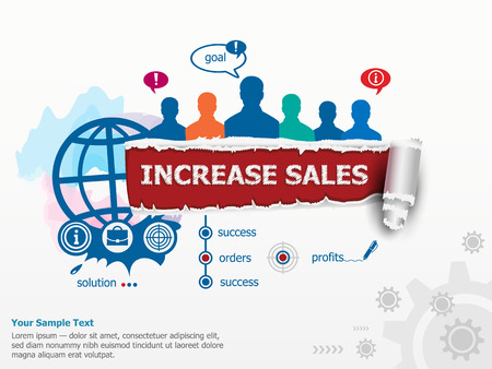 increase sales: Increase sales concept  and group of people. Set of flat design illustration concepts for business, consulting, finance, management, career, human resources.