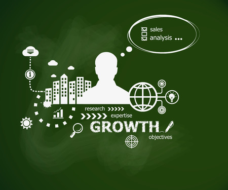 Growth concept and man. Hand writing Growth with chalk on green school board. Typographic poster.