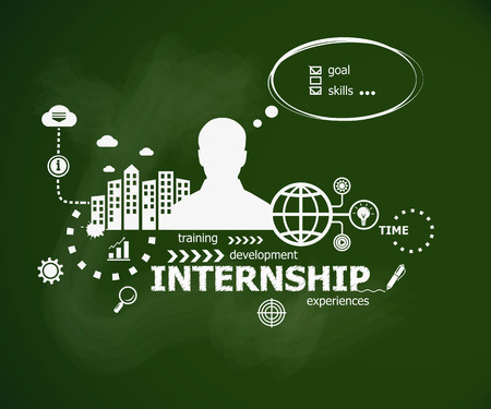 apprenticeship: Internship concept and man. Hand writing Internship management with chalk on green school board. Typographic poster. Illustration