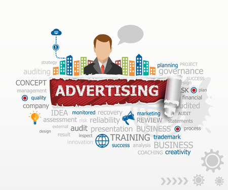 persuasion: Advertising concept word cloud and business man. Advertising design illustration concepts for business, consulting, finance, management, career. Illustration