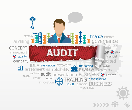 validez: concepto de auditoría nube de la palabra y el hombre de negocios. Auditoría diseño ilustración conceptos para los negocios, consultoría, finanzas, gestión, de la carrera.