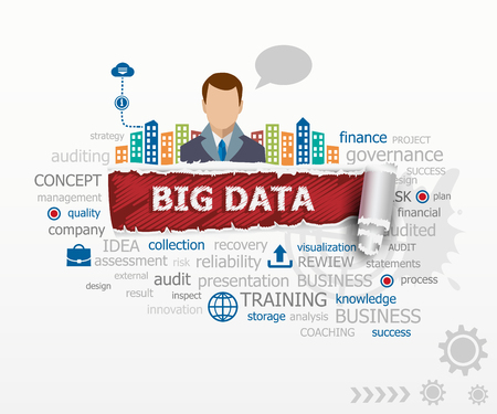 A word cloud of big data concept and business man. Big data design illustration concepts for business, consulting, finance, management, career.
