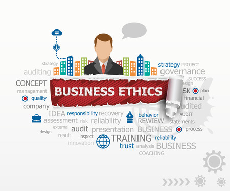 principled: Business Ethics word cloud concept and business man. Business Ethics design illustration concepts for business, consulting, finance, management, career. Illustration