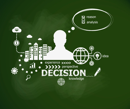 Decision concept and man. Hand writing Decision with chalk on green school board. Typographic poster. Illustration