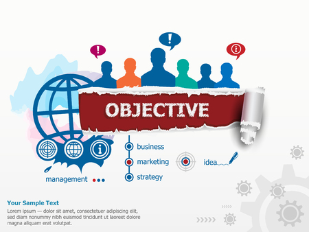 cohesive: Objective concept and group of people. Set of flat design illustration concepts for business, consulting, finance, management, career, human resources.